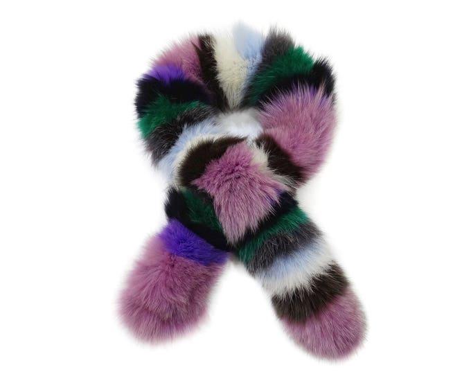 """Trendi"" Fox fur scarf - Multicolor Scarf F748"