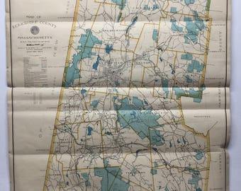 Berkshire County 1937 1978 MA Wall Map Original - used - tube 164