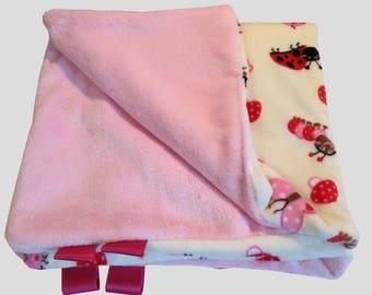 Blanket or throw Ladybug pink. Soft fleece.