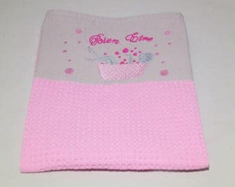 Towel embroidered cotton honeycomb