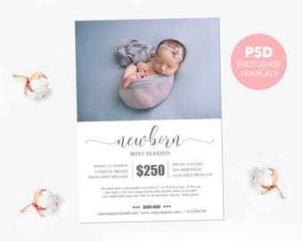 "Mini session template. Marketing board photography pricing template. Newborn pricing guide. Fully editable Photoshop PSD file 5x7"". MS016"