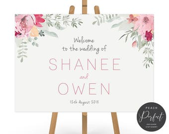 Wedding Welcome Sign, Pink Flowers, Floral Wedding Poster, Free Colour Changes, DIY Printable Digital File, Bloom Suite