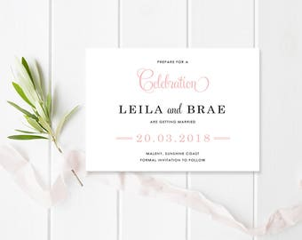 Coral Wedding Save the Date Card, Digital Printable File or Professionally Printed, Free Colour Changes, Chevron Delight Suite