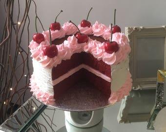 8in Fake red velvet pink/white cherry cake