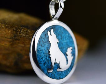 Sterling silver Howling Wolf pendant inlaid with Kingman Turquoise