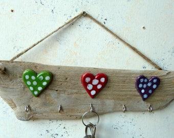 Driftwood Multi Coloured Ceramic Heart Hanging Key Hooks Dog Lead Holder Hook