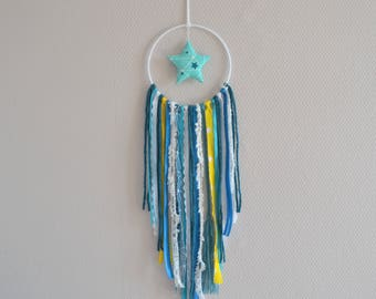 Order dream catcher / turquoise gray / yellow / star / reservation for 23annelaure