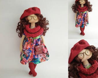 Textile doll. Fabric doll. Tilda doll. Interior doll. Decor doll. Handmade doll. Doll with glasses. Gift ideas for her. Art doll. Birthday
