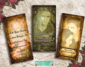 Twilight, Bookmarks, Cards, Postcards, Cards, Digital Pictures, Forks, La Push, Twihards, scrapbook, printable pictures, stationery,download