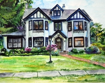 Custom Home Painting House Portrait Watercolor Painting Original Watercolor house painting Home Gift Portrait Watercolor home art  by photo