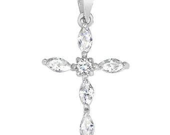 Sterling Silver Marquise Cross CZ Pendant PZ-6470