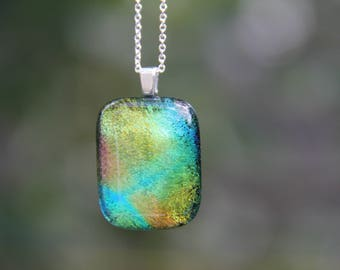 Multi-coloured dichroic glass pendant, dichroic glass necklace, dichroic, rainbow , fused glass pendant, dichroic jewelry, dichroic pendant