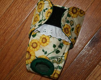Female dog diaper, Panties, dog Britches, nappies.  Washable Heat cycle,incontinence - Sunflower Fields  - by angelpuppi