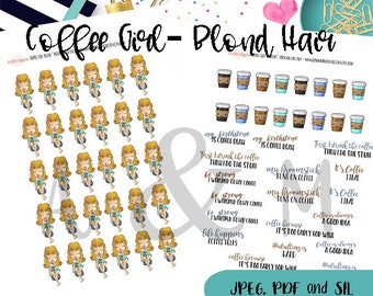 Coffee Girl- Blond Hair- Printable Planner stickers, Coffee, Coffee Addict, Coffee Stickers Planner stickers, Erin Condren, Happy Planner
