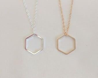 Hexagon Necklace | Geometric Necklace | Layering Necklace | Minimalist Necklace