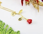 Gold Rose Necklace Gold Rose Charm Necklace Red Rose Charm Flower Jewelry Romantic Gift Christmas Jewelry Personalized Initial Necklace