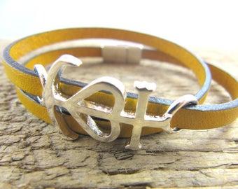 Size XS/S/M/L - 5x2mm yellow Leather Bracelet - camargue cross
