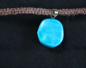 Hemp necklace with turquoise pendant