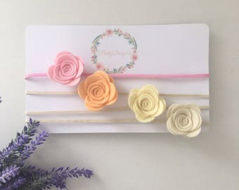 Single rose flower headband. Baby girl, childs hair accessories.