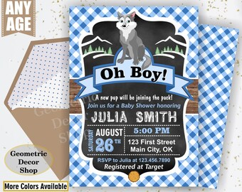 Baby Shower / Wolf / Lumberjack / Rustic / Plaid / Blue / Boy / Invitation / Invite / Gray / DIY / woodland / Animal / BSLJ6