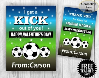 Soccer / Sports / ball / Valentine Card / Valentines Card / Valentine's Day / Personalized / green / blue / Tags / teacher / Kids / VCard34