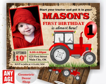 Tractor Birthday Invite, Tractor Invitation Tractor Invitations Woodland Rustic Wood Invite Digital File Red Boy Girl Photo Photograph BDT41