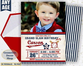 Vintage Baseball Birthday invitation / Sports Invite / All star invitations / First Ball red blue invites boy girl photo photograph BDSP30/7