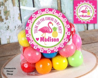 Flamingo / pineapple / Favor tags / Thank you / cards / digital file / Luau / Aloha / Hawaiian / birthday / pink / tag / Girl / pool /FTG5