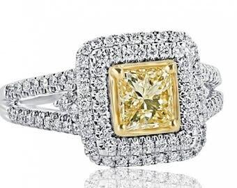Princess Cut Diamond Engagement Ring, 1.51 Ct, Yellow Diamond Engagement Ring, Halo Engagement Ring, Split Shank Ring, 14k White Gold