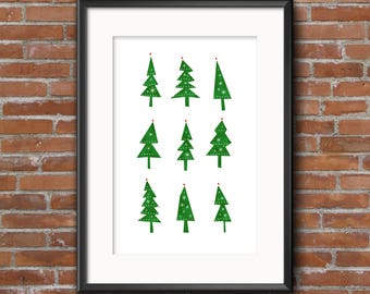 Christmas Trees - modern, quirky, festive, printable, wall art, poster