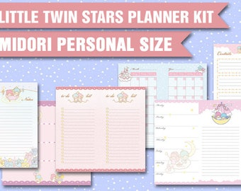 Midori personal inserts kawaii planner kit printable midori inserts weekly planner week on two pages monthly view traveller's notebook