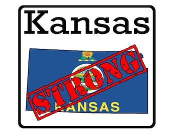 Kansas State (K17) Strong Flag Vinyl Decal Sticker Car/Truck Laptop/Netbook Window
