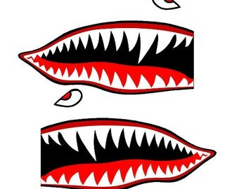 "Set of 2 Remote Control (RC17) 5"" Flying Tigars Shark Teeth RC Airplane Sticker Decal"