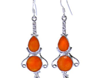 Carnelian Earrings, 925 Sterling Silver, Unique only 1 piece available! color orange, weight 7g, #32515
