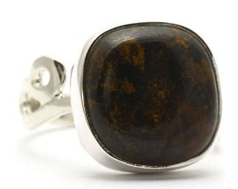 Bronzite Ring, 925 Sterling Silver, Unique only 1 piece available! SIZE 7.50 (inner diameter 17.67mm), color brown, weight 5.1g, #34019