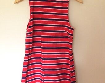 Mockneck Red-and-Blue Striped dress