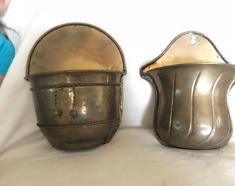 Vintage brass wall sconces buckets