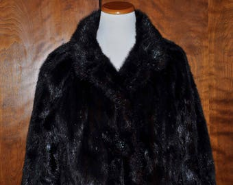 Vintage Black Mink Coat With Double Lining (Luxurious & Amazing Workmanship), Mahogany Mink Coat, Black Full Length Mink