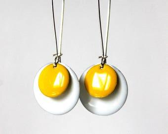 Sequin white yellow enamel earrings