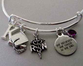 """Personalized REGISTERED NURSE / Graduation """"She Believed She Could So She Did"""" Bangle W/ Birthstone - Initial - College Gifts / Under  30 C1"""