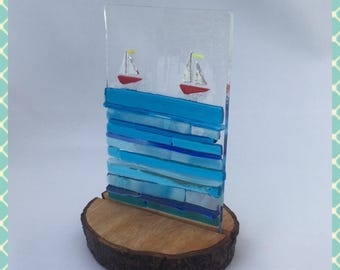 Fused Glass Picture, Fused Glass Plaque, Yachts, Sailing Boats on Wood Stand by Minerva Hot Glass