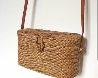 Boxy brown rattan Bali bag crossbody bag