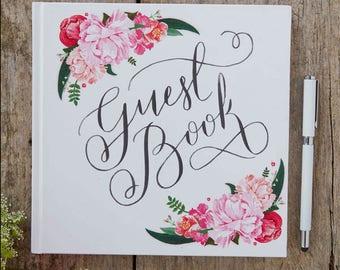 Romantic Pink Vintage Flowers Wedding Guest Book Floral Wedding Decoration