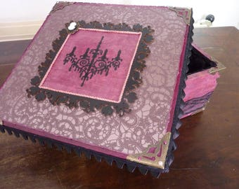 "Box square purple ""Victorian"" wood and old rose"