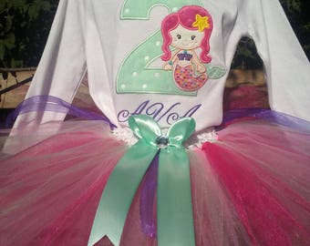 Pink Purple Mint Mermaid 2nd Birthday Outfit Shirt Tutu and FREE Hair Bow