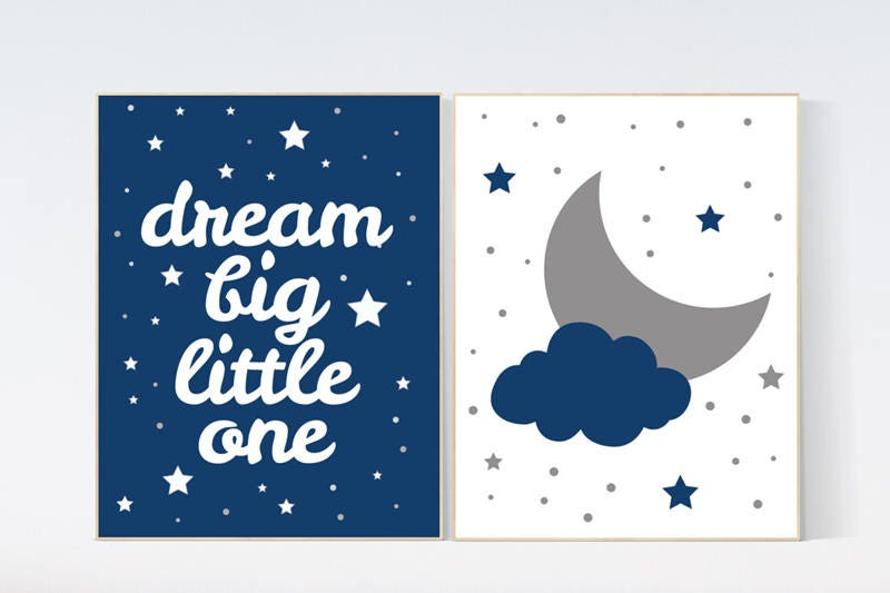 baby boy nursery set moon and stars nursery navy blue nursery decor dream big little one art. Black Bedroom Furniture Sets. Home Design Ideas