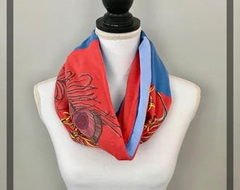 Peacock Scarf, Artsy Women's Spring Scarf, Comfy Eco-Chic Upcycled Cotton Blue Scarf, Unique Infinity Scarf OOAK Feather,  T shirt Scarf,