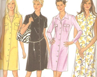 New Look 6595 Misses' 90's Shirt Dress - Sun Dress - Collared Dress - Sizes 10-22 - Uncut & Factory Folded
