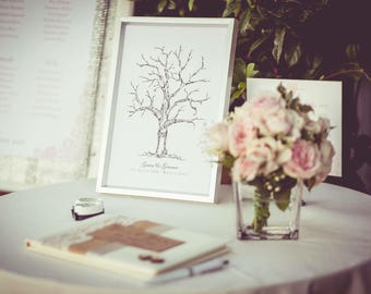 Personalised Fingerprint Wedding Tree - Alternative Guest Book -  2 Inks included!