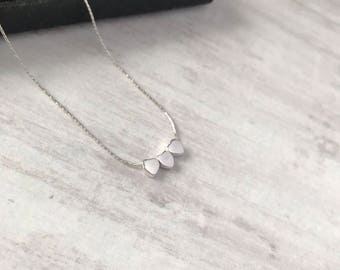 Sterling Silver Triple Heart Necklace/Silver Tiny Heart Necklace/Heart Necklace/Trio Hearts/Delicate chain/Everyday/Layer/Gift/Bridal/uk/bff